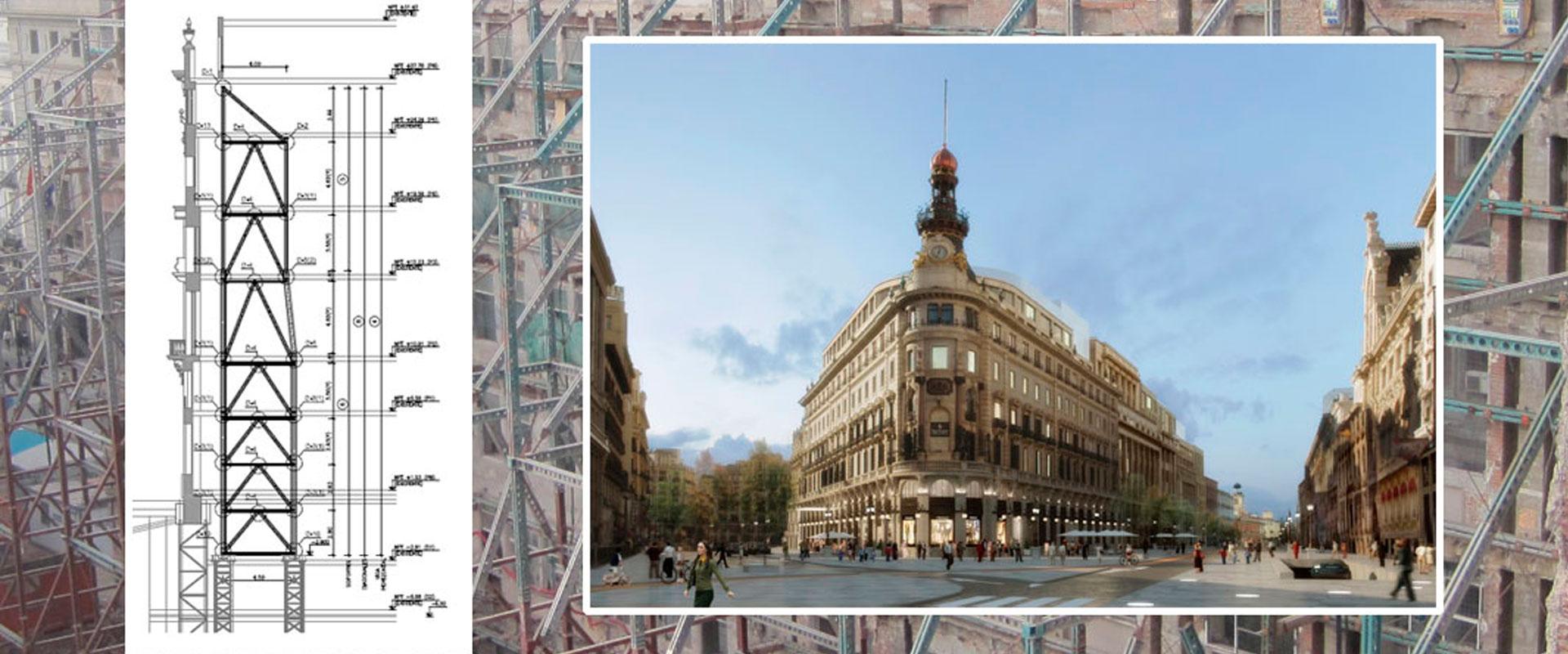 Centro Canalejas, estructura sustentación fachada